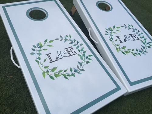 Wreath Monogram Custom Cornhole Boards