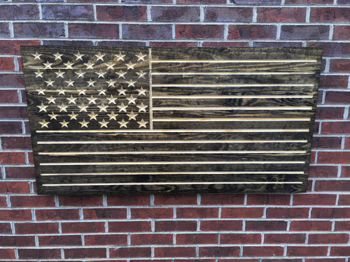 Dark Walnut Stained Rustic Engraved Wooden American Flag