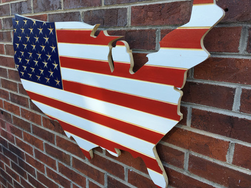 Red, White and Blue Engraved Wooden American Flag USA Map