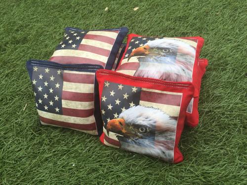 American Flag Eagle Cornhole Toss Bags