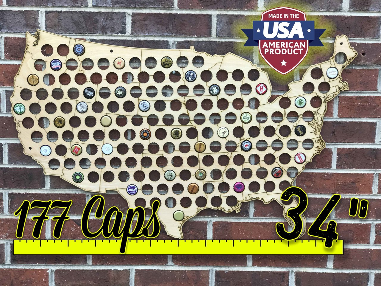 Us Map Made Out Of State Brewery Signs Beer Cap Map