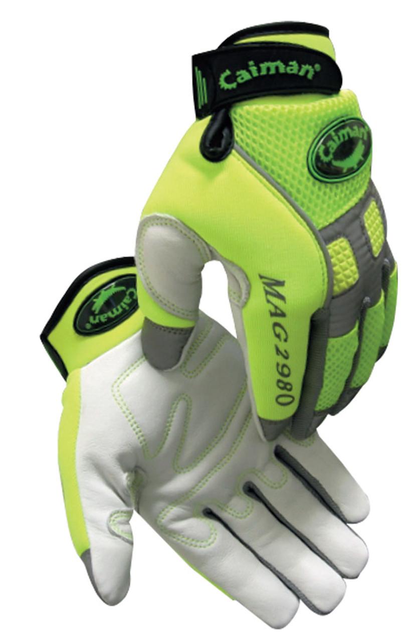 Caiman® 2980  Hi-Visibility Goatskin Leather Mechanics Gloves