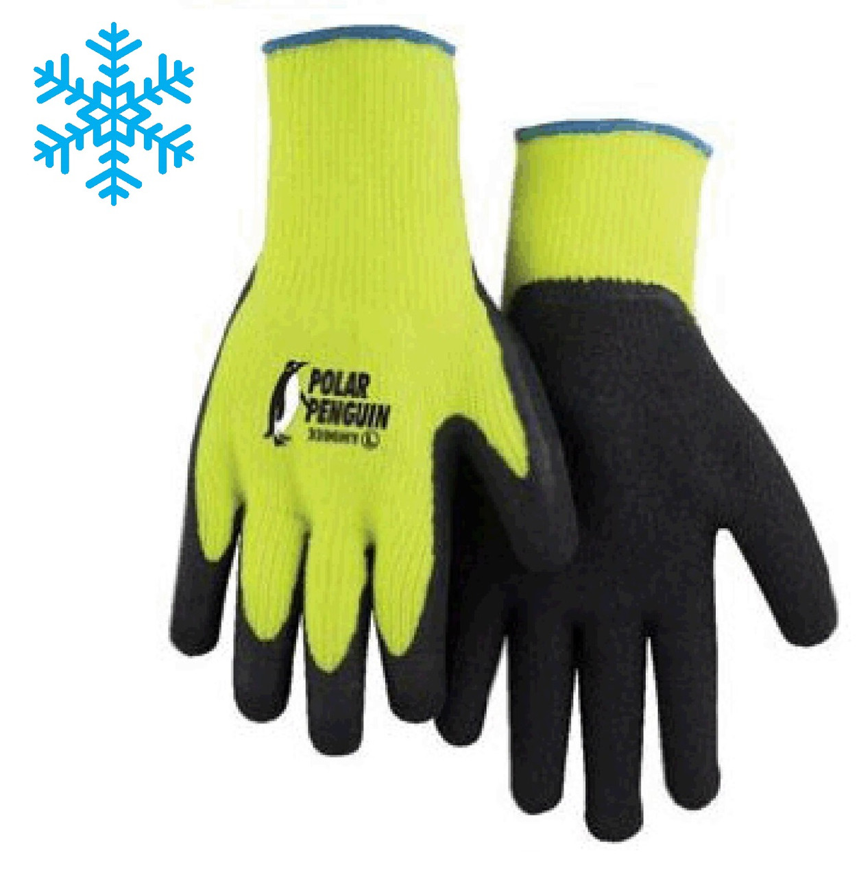 WINTER HI-VIS YELLOW KNIT RUBBER PALM GLOVE - Insulated Gloves  ## 3396HY ##