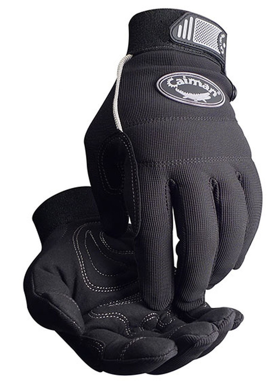 Caiman Black Synthetic Leather Gloves  ## 1932 ##