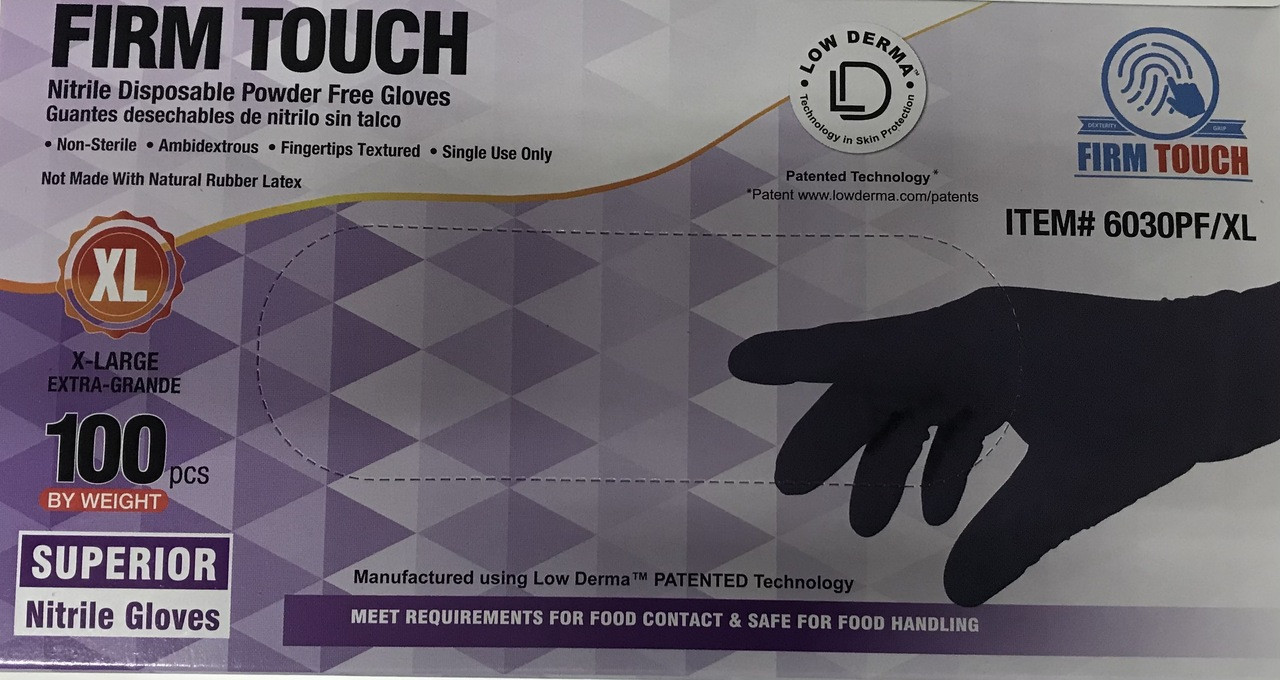 Powder-Free Nitrile Gloves - 5 mil Industrial Grade (IN STOCK) X-LARGE