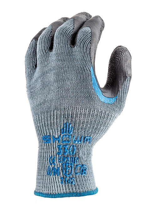 SHOWA Atlas 330 Palm Coating Natural Rubber Glove, 10-Gauge Seamless Knitted Liner, General Purpose Work Glove