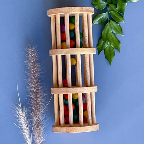 Handmade Q Toys Natural Wooden Rainmaker for Endless Play Collective