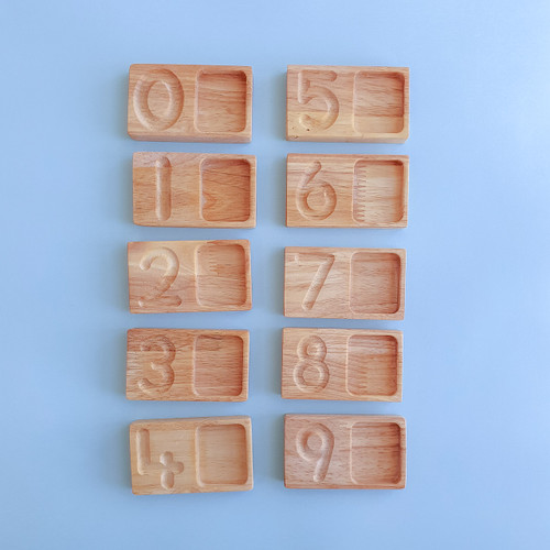 Q Toys Handmade Wooden Counting Tiles in Storage Box for Endless Play Collective (Writing and Counting Tiles)