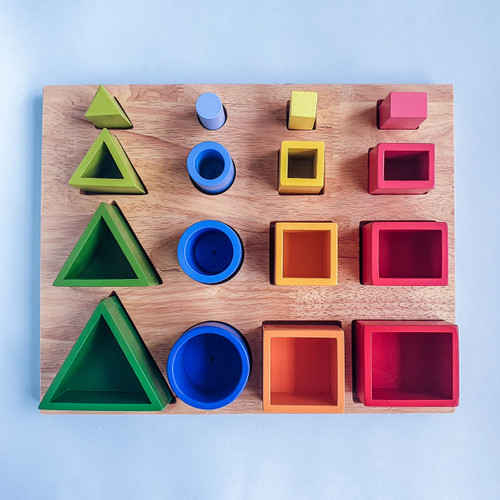 Q Toys Handmade Montessori 3D Sorting and Nesting Board for Endless Play Collective