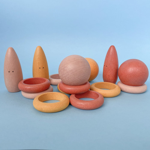 Little Earth Toys Australian Handmade Wooden Leaves Playset, rings and balls