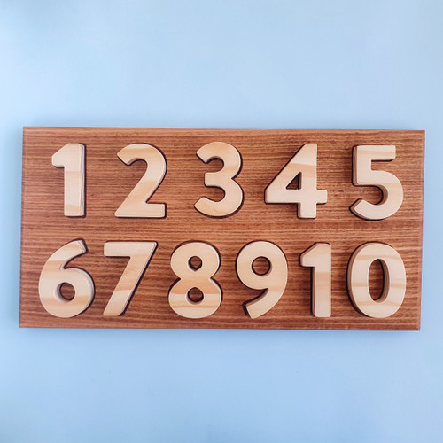 Australian-Handmade wooden number puzzle, oak and pine