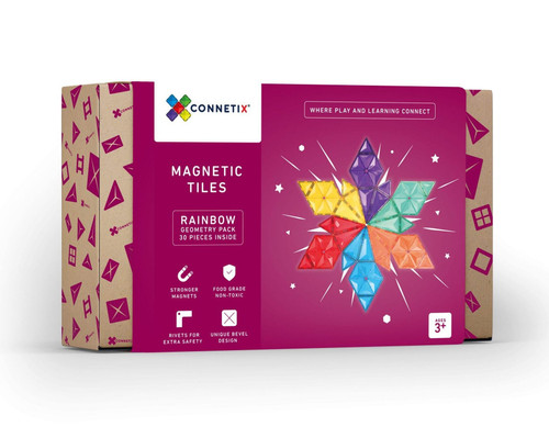 Connetix Magnetic Building Tiles | 30 Piece Geometry Pack for Endless Play Collective