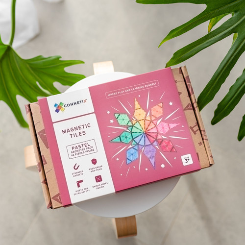 Connetix Magnetic Building Tiles | 40 Piece Pastel Geometry Pack for Endless Play Collective