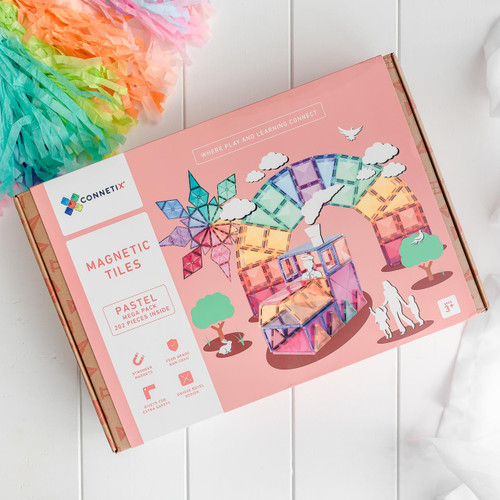 Connetix Magnetic Building Tiles | 202 Pastel Mega Pack for Endless Play Collective