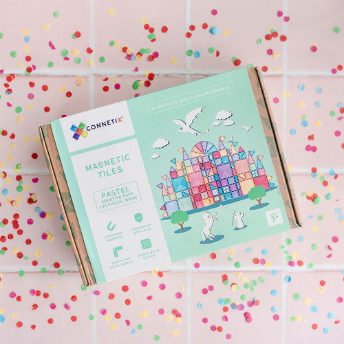 Connetix Magnetic Building Tiles   120 pcs Pastel Creative Pack for Endless Play Collective