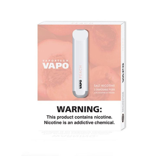 Peach 3-Pack Disposable Vape Pod by VAPO