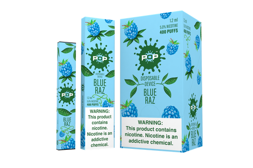 Pop Disposable bar vape pen device Blue box pack splatter mark blueberry