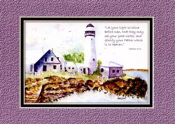 KJV Scripture Blank Greeting Cards - Lighthouse