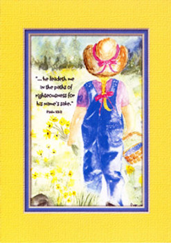 KJV Scripture Blank Greeting Card - Blue Jeans Girl