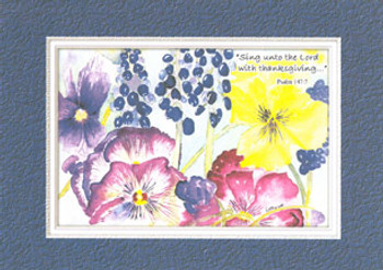 KJV Scripture Birthday Card - Pansies