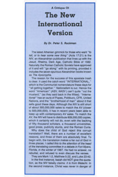 Critique of the NIV - Tract