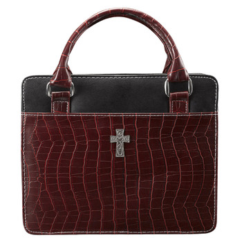 "Purse Style with Crocodile Embossing in Burgundy Bible Cover (7"" x 10"" x 2"")"