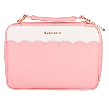 "Blessed Pink Scalloped Bible Cover (7"" x 10"" x 2"")"