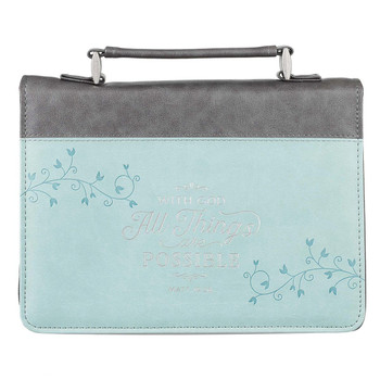 """All Things Are Possible Classic Faux Leather Bible Cover in Light Blue - Matthew 19:26 (7"""" x 10.2"""" x 1.9"""")"""