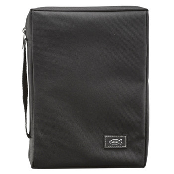 "Black Poly-canvas Value Bible Cover with Fish Badge (6.25"" x 9.25"" x 1.6"")"