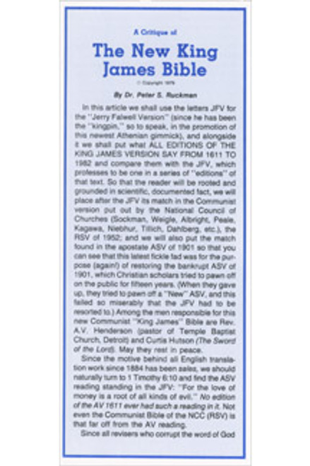 New King James Critique - Tract