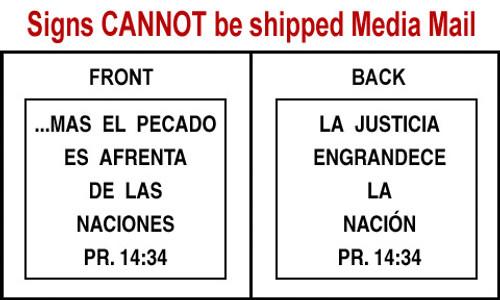Spanish Scripture Sign - Pr. 14:34