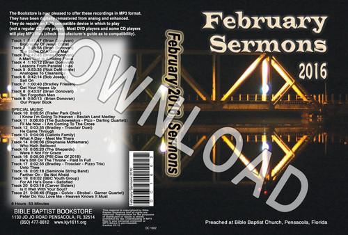 February 2016 Sermons - Downloadable MP3