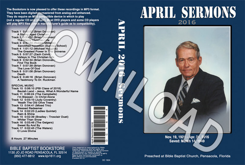 April 2016 Sermons - Downloadable MP3