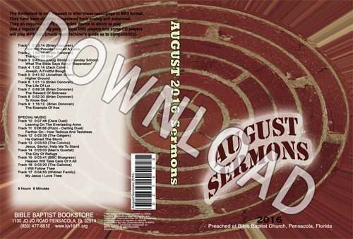 August 2016 Sermons - Downloadable MP3