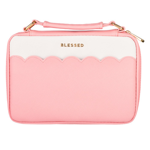 """Blessed Pink Scalloped Bible Cover (6.5"""" x 9.5"""" x 1.75"""")"""