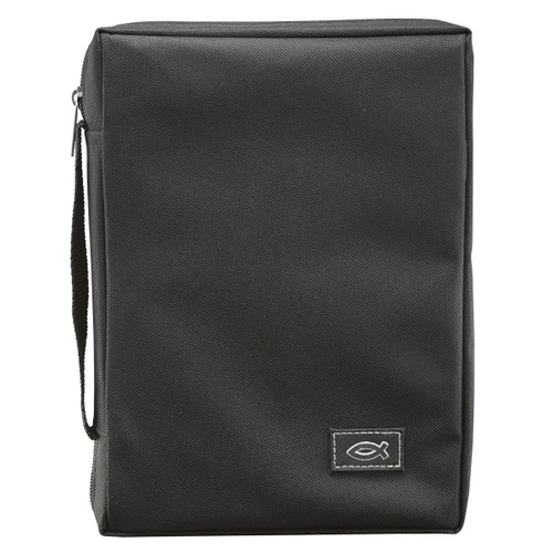 """Black Poly-canvas Value Bible Cover with Fish Badge (5.2"""" x 6.8"""" x 1.5"""")"""