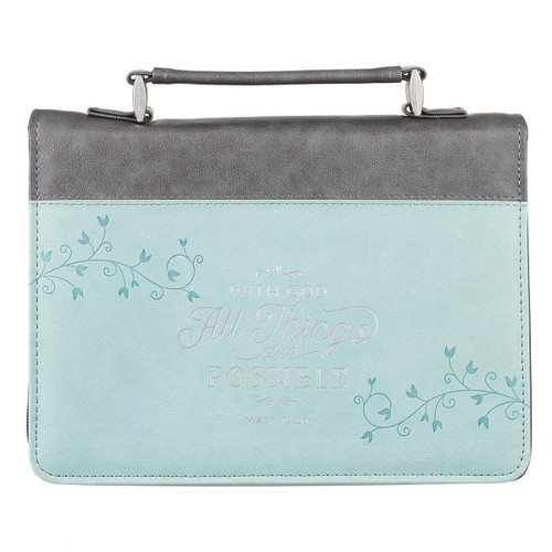 """All Things Are Possible Classic Faux Leather Bible Cover in Light Blue - Matthew 19:26 (8"""" x 11.2"""" x 2.2"""")"""