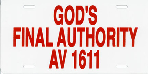 God's Final Authority - License Plate