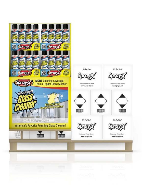 Foaming Glass Cleaner 19oz - Quarter Pallet Display & Replenishment Kit | $1.69 per can