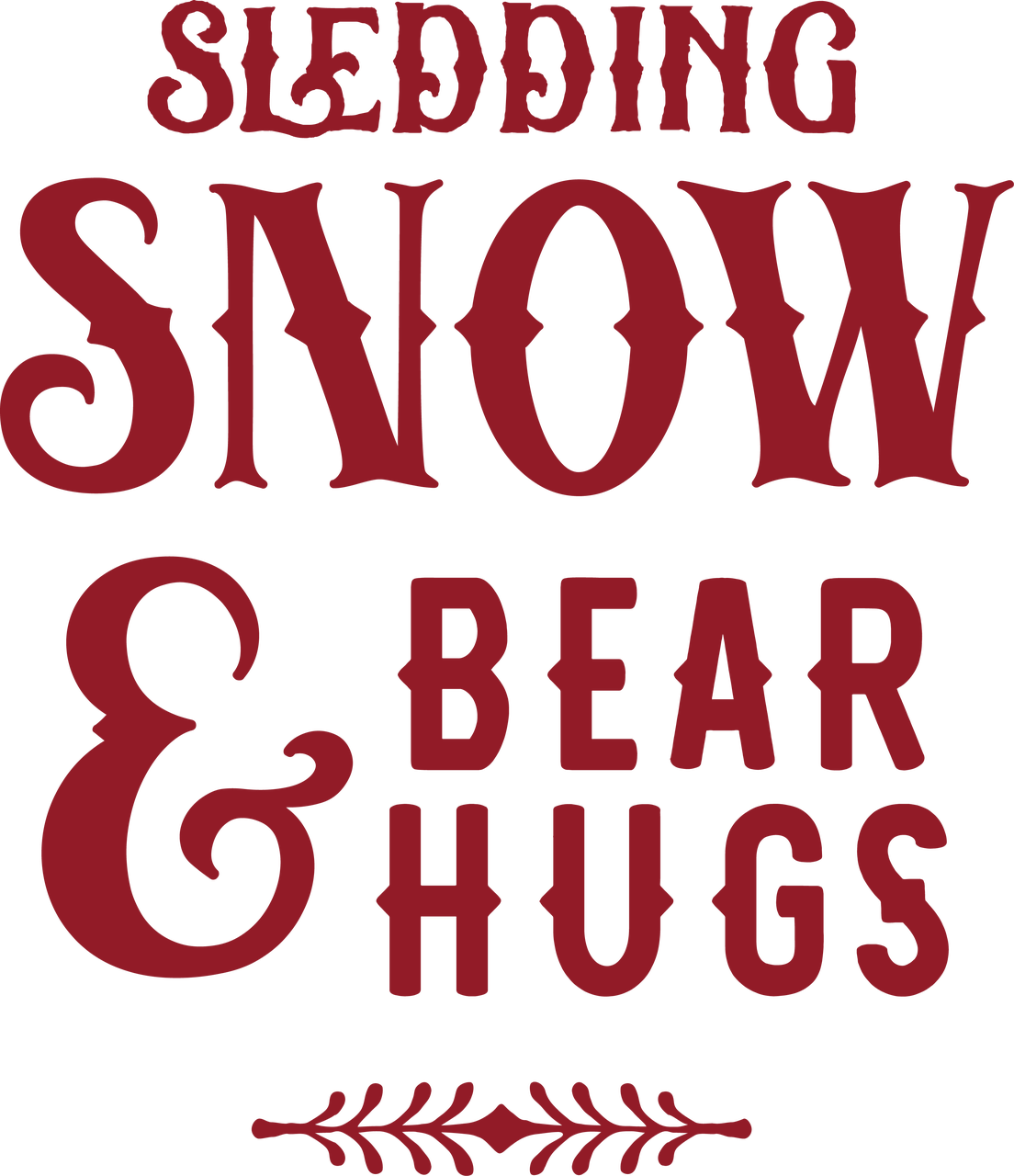 Sledding Snow & Bear Hugs SVG Cut File