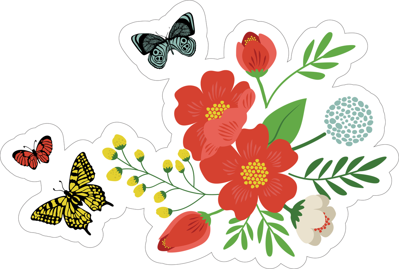 Flowers and Butterflies Print & Cut File