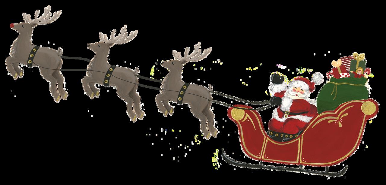 Santa Sleigh with Reindeer Print & Cut File