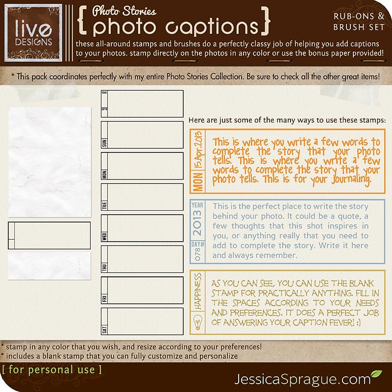Photo Stories - Photo Captions Rub-Ons & Brush Set