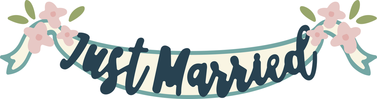 Just Married Banner SVG Cut File