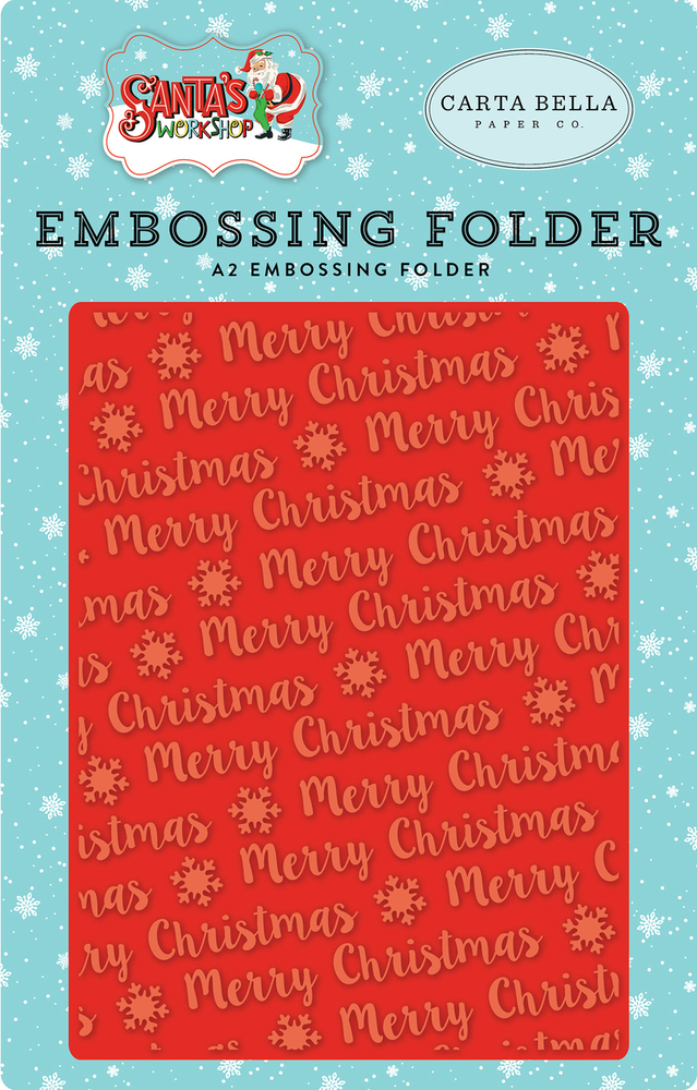 Santa's Workshop Embossing Folder - Merry Christmas Snowflake