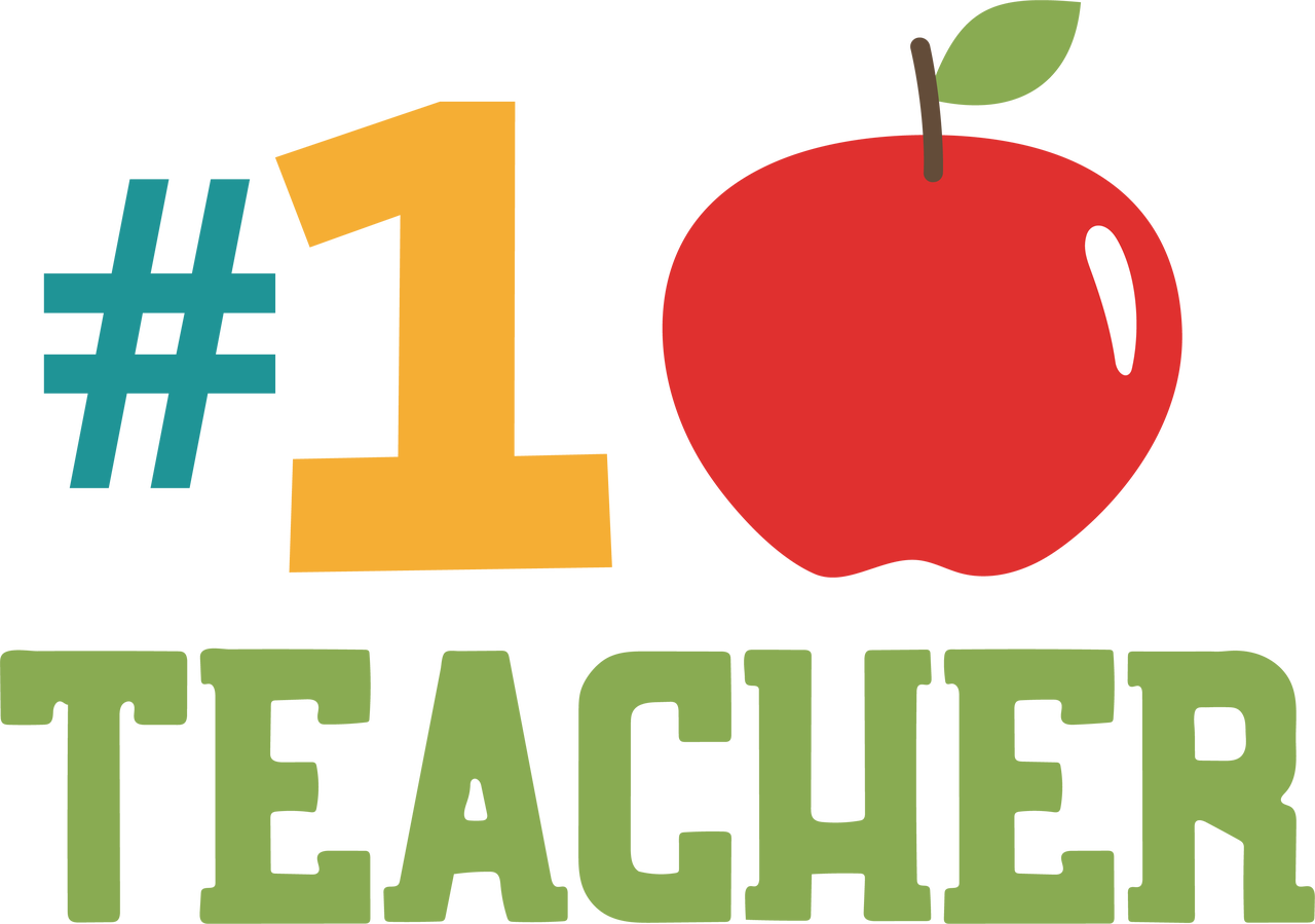 #1 Teacher SVG Cut File