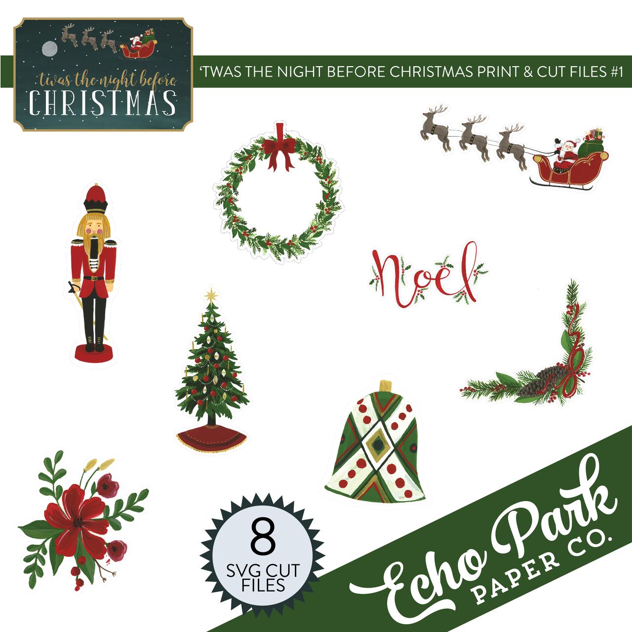 'Twas The Night Before Christmas Print & Cut Files #1