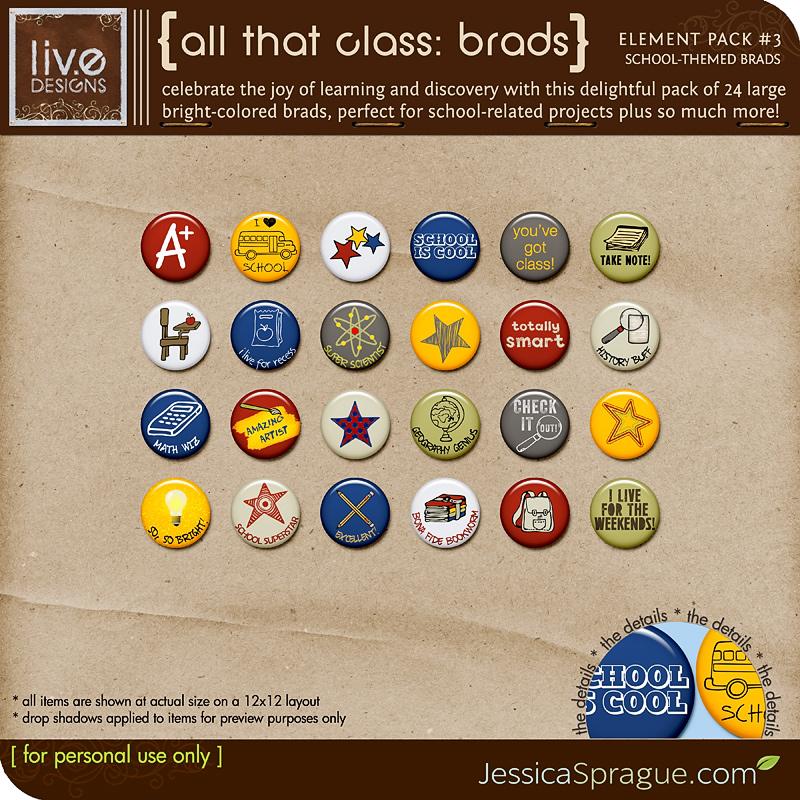 All That Class (School-Themed) Elements Vol. 3: Brads