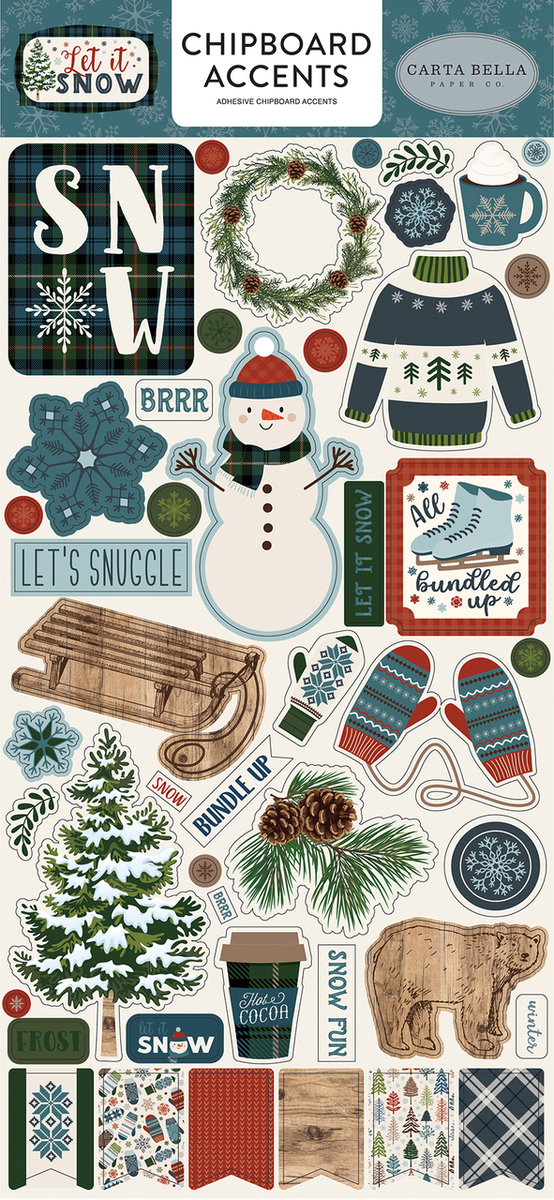 Let It Snow Chipboard Accents