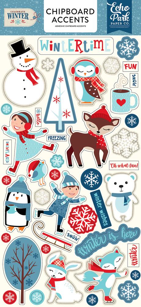 Celebrate Winter Chipboard Accents